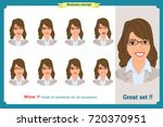set of woman expression... | Shutterstock .eps vector #720370951