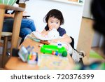 cute child playing indoors   Shutterstock . vector #720376399