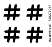 hashtag icon set  black hashtag ... | Shutterstock .eps vector #720379039