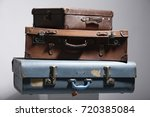 old blue suitcase  | Shutterstock . vector #720385084