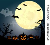 halloween party. pumpkin  ... | Shutterstock .eps vector #720385411