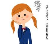 troubled school girl | Shutterstock .eps vector #720389761