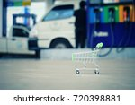 close up shopping cart with gas ... | Shutterstock . vector #720398881