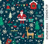 christmas seamless pattern with ... | Shutterstock .eps vector #720404719