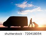 Silhouette Delivery Courier Cardboard Boxes - Fine Art prints