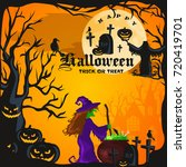 halloween night background with ... | Shutterstock . vector #720419701