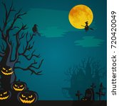 halloween background. horror... | Shutterstock . vector #720420049