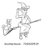 witch and cat halloween... | Shutterstock .eps vector #720420919