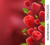 raspberries and leaves falling... | Shutterstock . vector #720421231