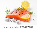 salmon raw. salmon red fish... | Shutterstock . vector #720427909