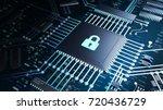 3d render of a cpu on a... | Shutterstock . vector #720436729
