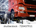 truck on a lift in a car service | Shutterstock . vector #720437911