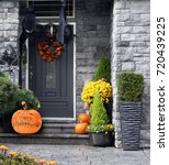 front door to a house decorated ... | Shutterstock . vector #720439225