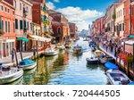 island murano in venice italy.... | Shutterstock . vector #720444505