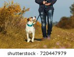 Stock photo sportive woman walks her dog on a leash in autumn exterior shot 720447979
