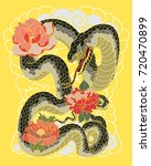 colorful snakes and flowers....   Shutterstock .eps vector #720470899
