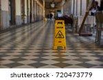 caution because the floor is wet | Shutterstock . vector #720473779