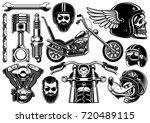 motorcycle vector set with... | Shutterstock .eps vector #720489115