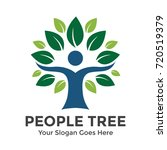 people tree vector logo template | Shutterstock .eps vector #720519379