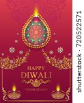 happy diwali festival card with ... | Shutterstock .eps vector #720522571