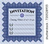 blue retro invitation template. ...   Shutterstock .eps vector #720528955
