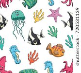 cute sea animal in seamless... | Shutterstock .eps vector #720531139