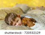 cute baby embracing and... | Shutterstock . vector #720532129