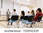 speaker at business conference... | Shutterstock . vector #720542329