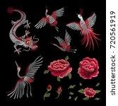 set. a crane  a fire bird  a... | Shutterstock .eps vector #720561919