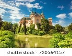 Romantic and beautiful Bojnice castle with lake reflection,UNESCO heritage (1103),Slovakia