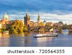 scenic view on vltava river and ... | Shutterstock . vector #720564355