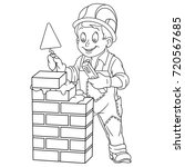 coloring page of builder with... | Shutterstock .eps vector #720567685