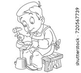 coloring page of shoemaker ... | Shutterstock .eps vector #720567739