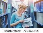 study in university  young... | Shutterstock . vector #720568615