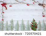 christmas wooden background... | Shutterstock . vector #720570421