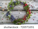 Autumn Wreath With Grapes And...