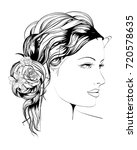 sketch. summer style. girl with ... | Shutterstock .eps vector #720578635