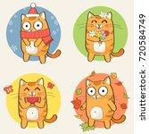 Cute Cartoon Cat Character And...