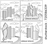 set of vector city illustration.... | Shutterstock .eps vector #720586339