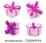 purple gift boxs with bow...   Shutterstock . vector #720589954