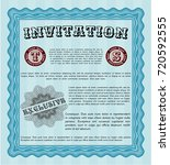 light blue retro invitation....   Shutterstock .eps vector #720592555