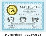 light blue sample certificate... | Shutterstock .eps vector #720593515