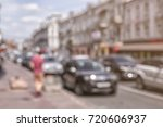 blurred view of busy city street | Shutterstock . vector #720606937