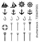 set of nautical icons isolated... | Shutterstock .eps vector #720609301