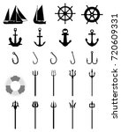 set of nautical icons isolated... | Shutterstock .eps vector #720609331
