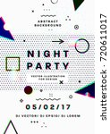 night party poster. 80s disco... | Shutterstock .eps vector #720611017