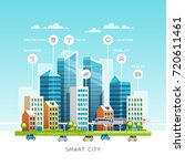 concept of smart city with... | Shutterstock .eps vector #720611461