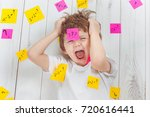 crying child with question... | Shutterstock . vector #720616441
