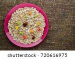 muesli with  dried fruit ... | Shutterstock . vector #720616975