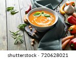 spicy carrot soup with baked... | Shutterstock . vector #720628021